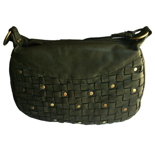 Rowallan Of Scotland Ascoli Green Medium Hobo Style Handbag front without strap