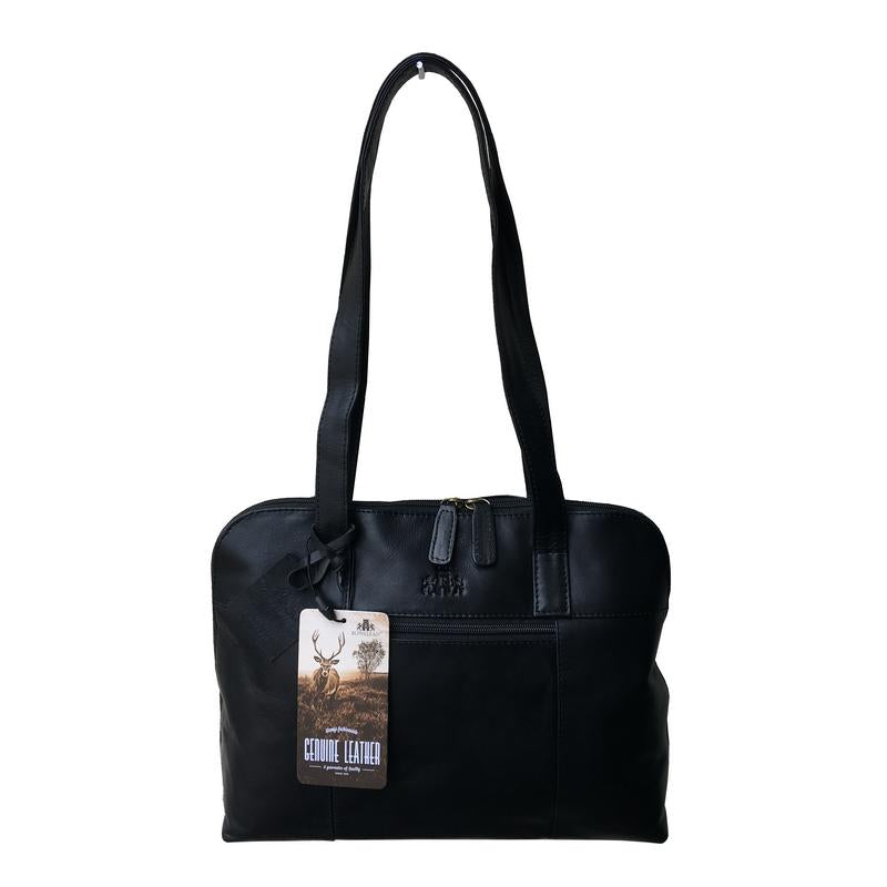 Rowallan Of Scotland Sultan Black Leather Curved Bag front
