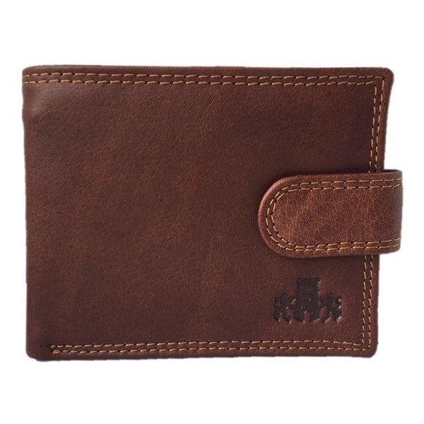 Rowallan Of Scotland Lancaster Tan Leather Tabbed Wallet front