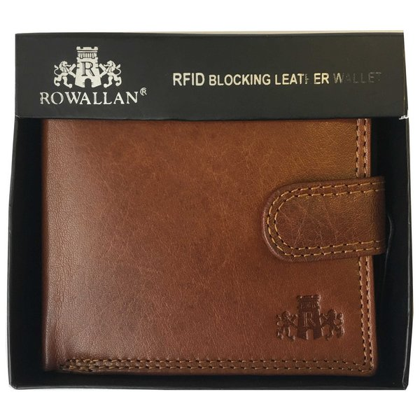 Rowallan Of Scotland Lancaster Tan RFID Triple Wallet boxed