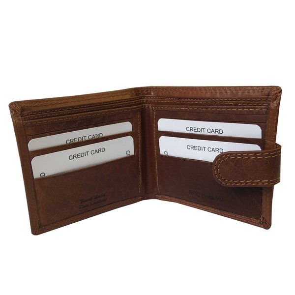 Rowallan Of Scotland Lancaster Tan RFID Triple Wallet open