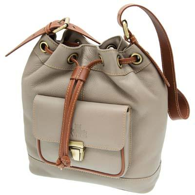 Rowallan Of Scotland Prelude Taupe Leather Drawstring Bag
