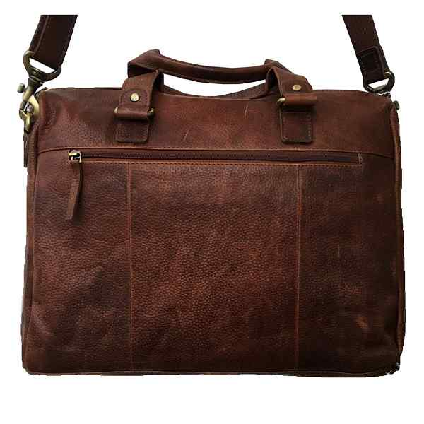 Rowallan Of Scotland Saxon Tan Leather Overnight Bag With Twin Front Pockets back