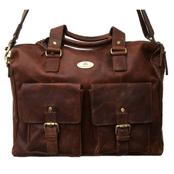 Rowallan Of Scotland Saxon Tan Leather Overnight Bag With Twin Front Pockets front detail