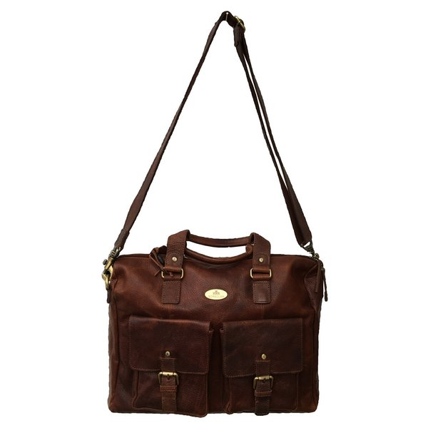 Rowallan Of Scotland Saxon Tan Leather Overnight Bag With Twin Front Pockets front hanging