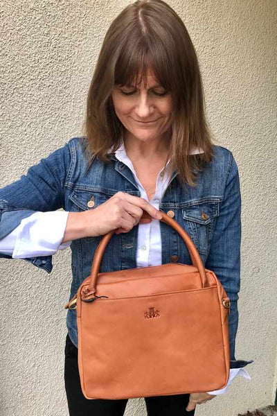 Rowallan Of Scotland Tan Barrel Shoulder Bag on model