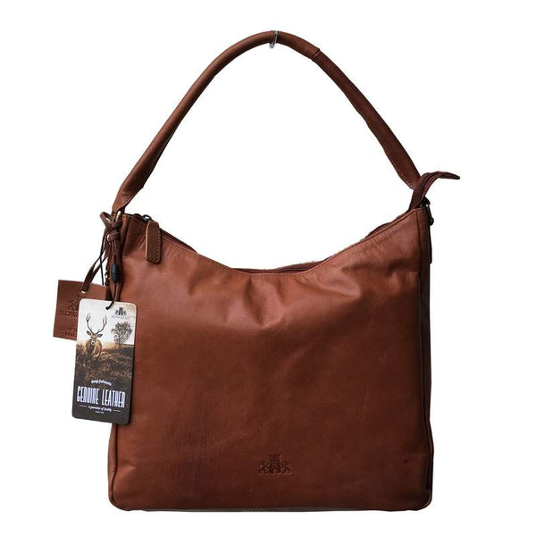 Rowallan Of Scotland Tan Scoop Top Bag front