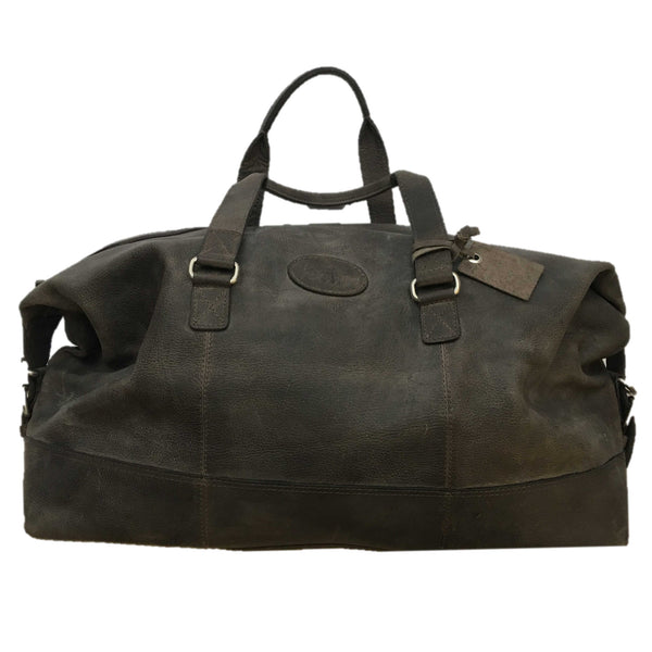 Rowallan Of Scotland Wayfarer Grey Leather Holdall front