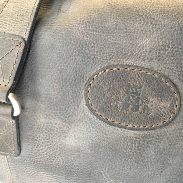 Rowallan Of Scotland Wayfarer Grey Leather Holdall branding