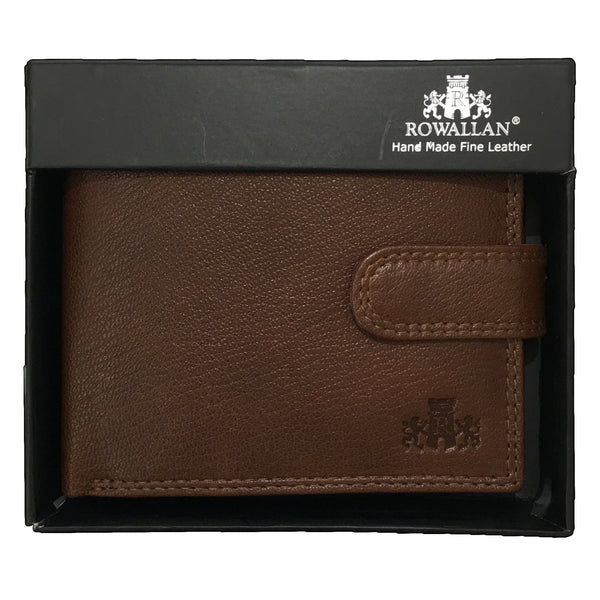 Rowallan Tan Tabbed Coin Pocket Wallet in box