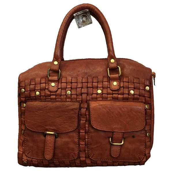 Rowallan of Scotland Ascoli Cognac Large Twin Pocket Handbag front
