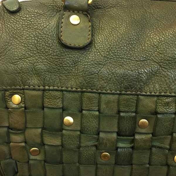 Rowallan of Scotland Ascoli Green Medium Twin Grip Handbag 31-9799-13 front panel detail