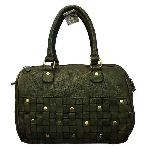 Rowallan of Scotland Ascoli Green Medium Twin Grip Handbag 31-9799-13 front