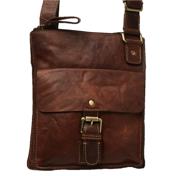 Rowallan of Scotland Bronco Cognac Cross Body Bag With Front Pocket front