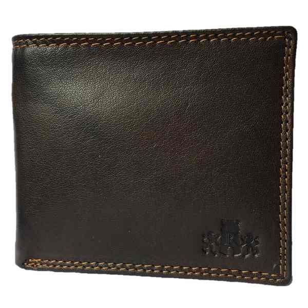 Rowallan of Scotland Lancaster Brown Flip-up Coin RFID Wallet 33-9806-02 front