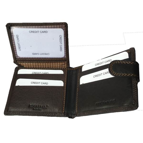 Rowallan of Scotland Lancaster Brown Tabbed Flip Wallet 33-9810-02 flipped