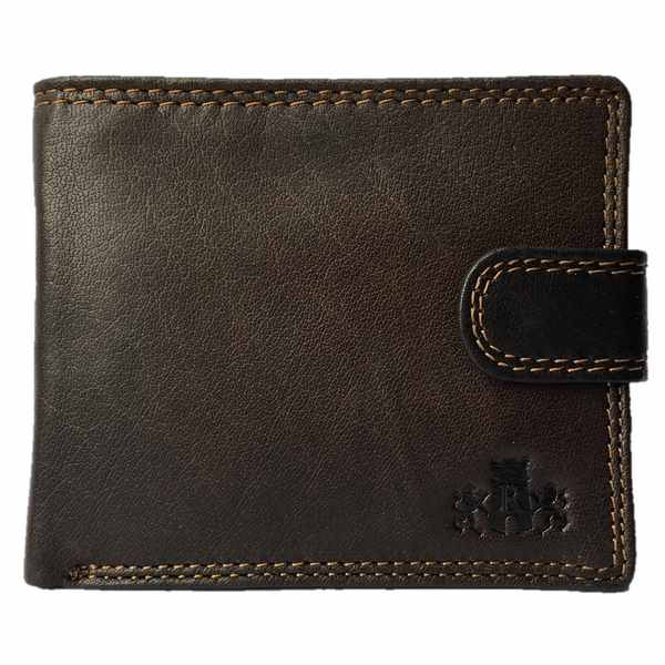 Rowallan of Scotland Lancaster Brown Tabbed Flip Wallet 33-9810-02 front