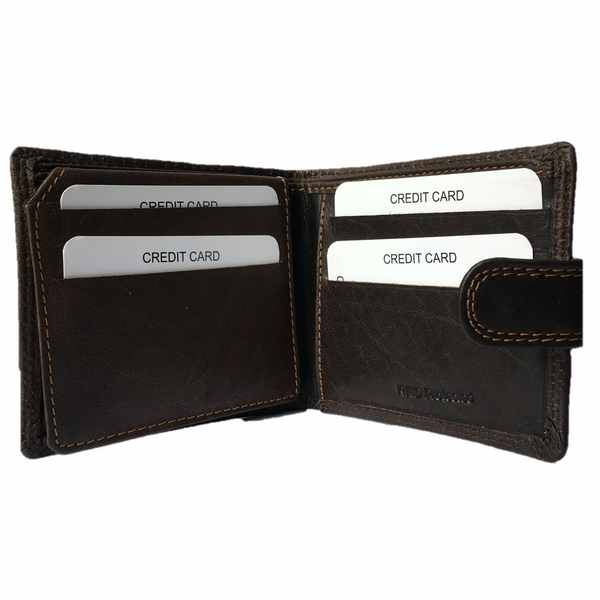 Rowallan of Scotland Lancaster Brown Tabbed Flip Wallet 33-9810-02 open