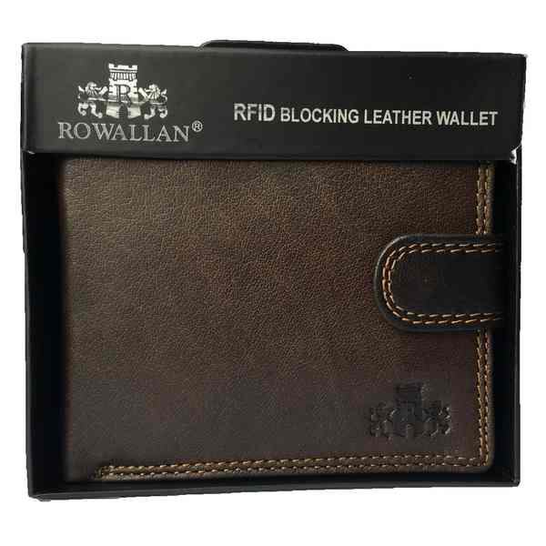 Rowallan of Scotland Lancaster Brown Tabbed Flip Wallet 33-9810-02 in box