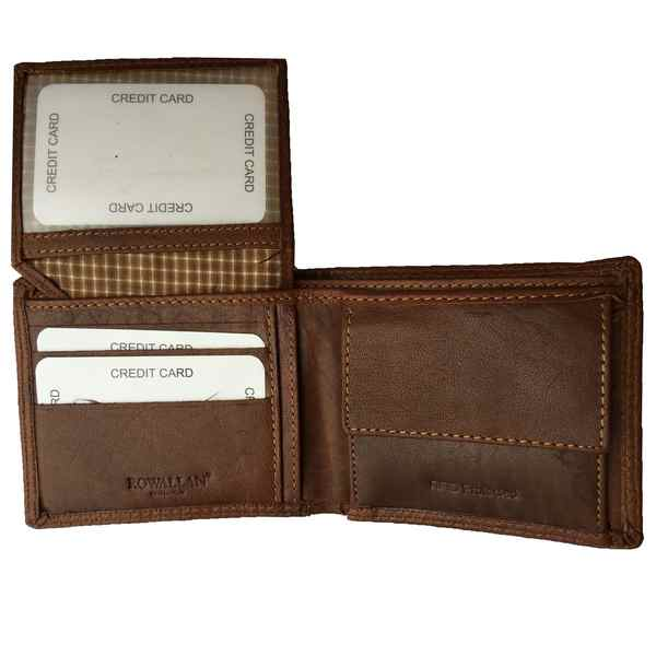 Rowallan of Scotland Lancaster Tan RFID Flip-up Wallet 33-9806-14 flipped up