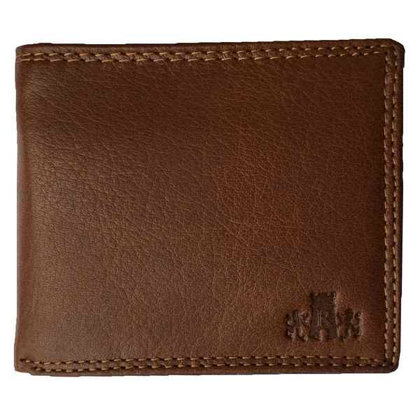 Rowallan of Scotland Lancaster Tan RFID Flip-up Wallet 33-9806-14 front