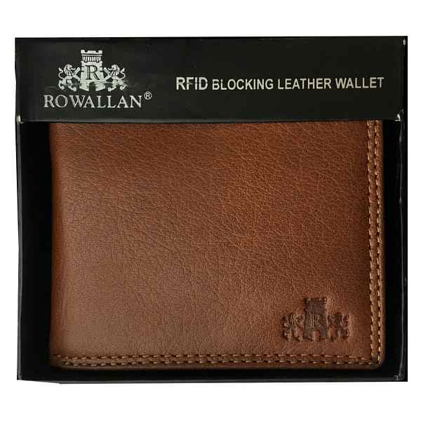 Rowallan of Scotland Lancaster Tan RFID Flip-up Wallet 33-9806-14 in box