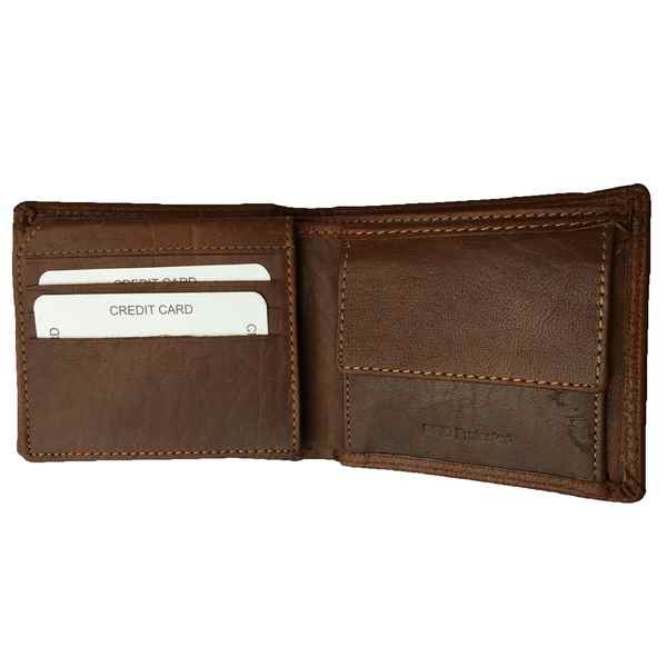 Rowallan of Scotland Lancaster Tan RFID Flip-up Wallet 33-9806-14 open