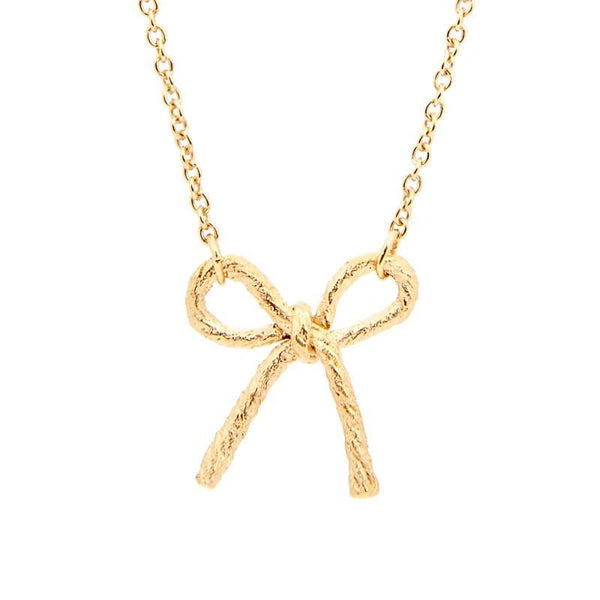 Knotted String Bow Yellow Gold Necklace