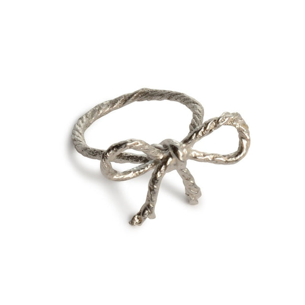 Knotted String Bow Sterling Silver Ring