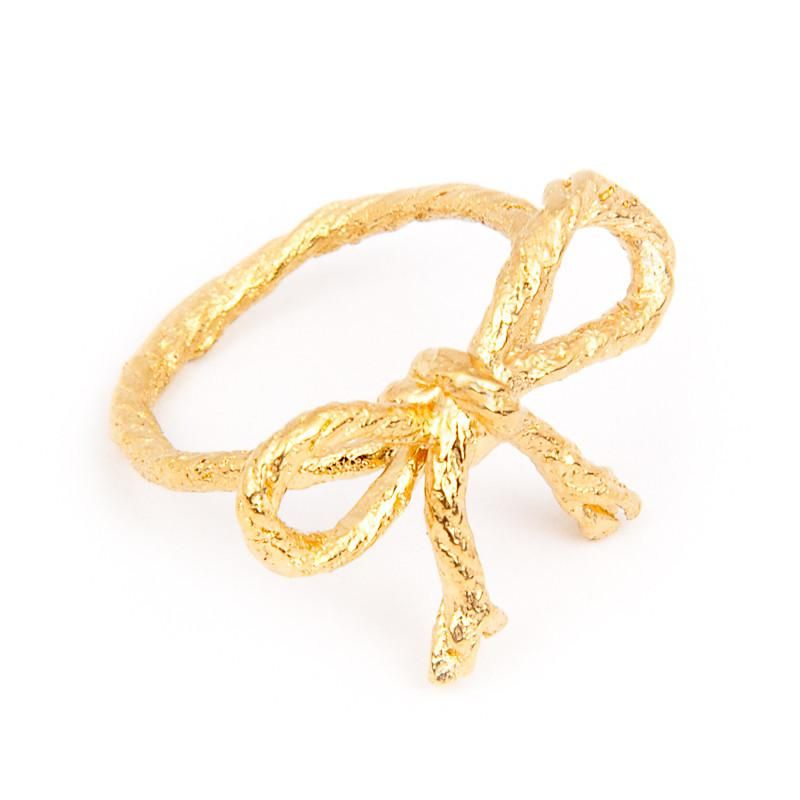 I Love a Lassie Jewellery Knotted String Bow Yellow Gold Ring