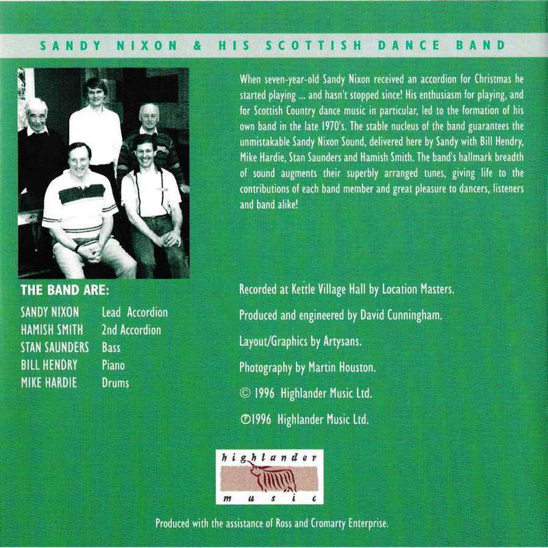 Sandy Nixon & His Scottish Dance Band - Scottish Dances Volume 1 CD booklet back cover