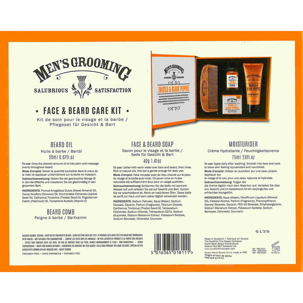 Scottish Fine Soaps Men's Grooming Face & Beard Care Kit back
