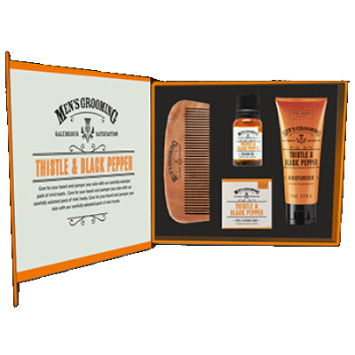 Scottish Fine Soaps Men's Grooming Face & Beard Care Kit open