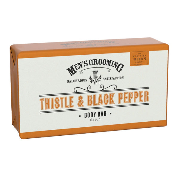 Scottish Fine Soaps Men's Grooming Thistle & Black Pepper Boby Bar 220g front