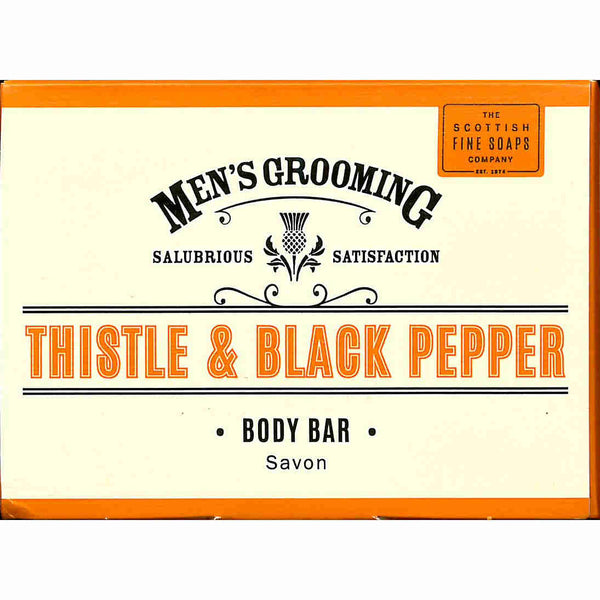 Scottish Fine Soaps Men's Grooming Thistle & Black Pepper Body Soap Bar Front