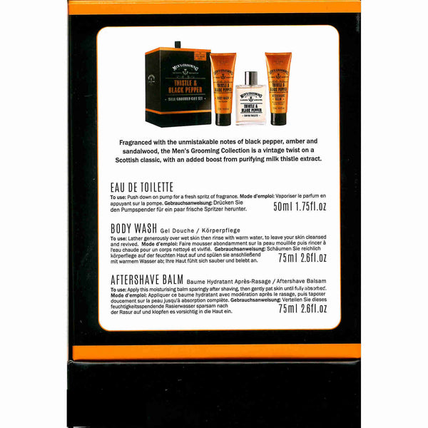 Scottish Fine Soaps Men's Grooming Thistle & Black Pepper Well Groomed Gift Set back
