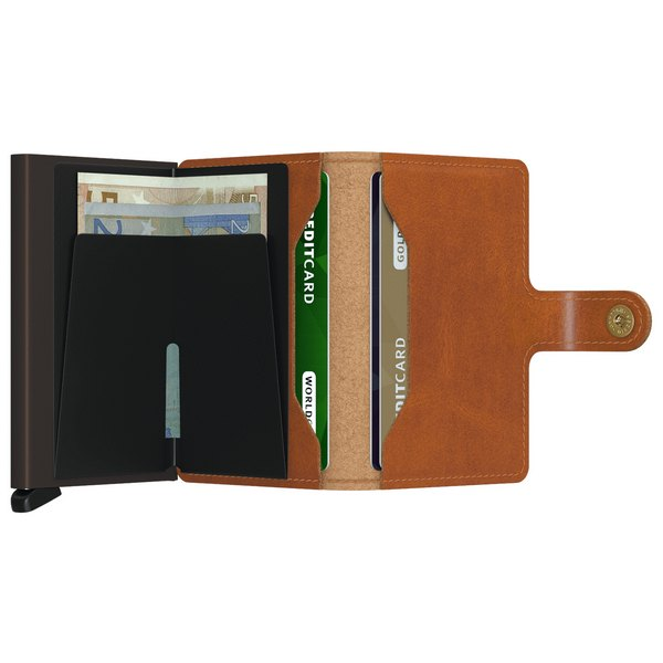 Secrid RFID Mini Wallet Original Cognac Brown open