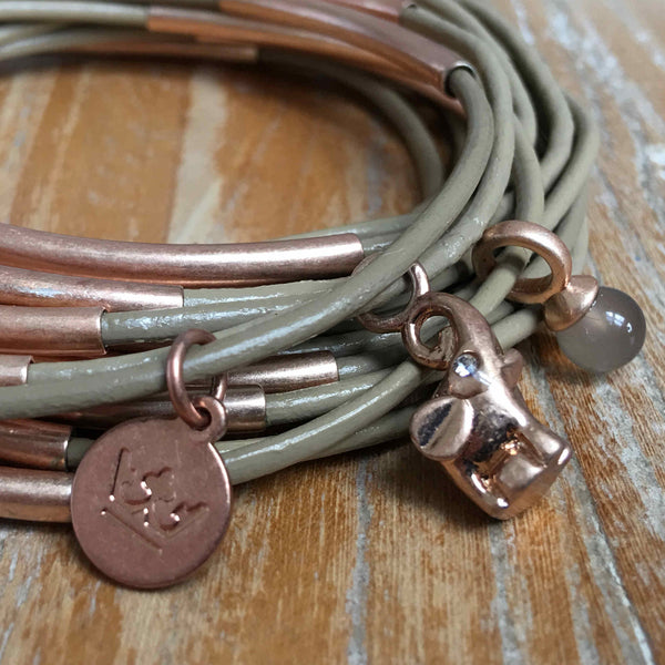 Sence Copengagen Urban Gypsy Bracelet Taupe Worn Rose Gold Z439 close-up