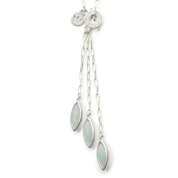 Sence Copenhagen Birch Necklace Aquamarine Matt Silver K523 detail