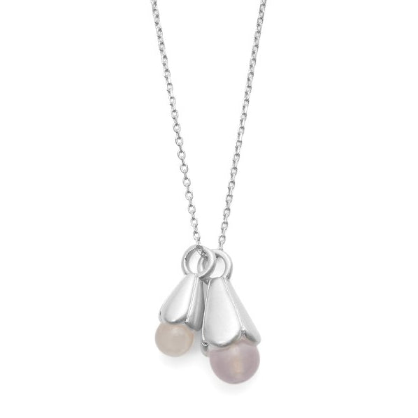 Sence Copenhagen Clover Necklace Rose Quartz Matt Silver 41 cm K653 detail
