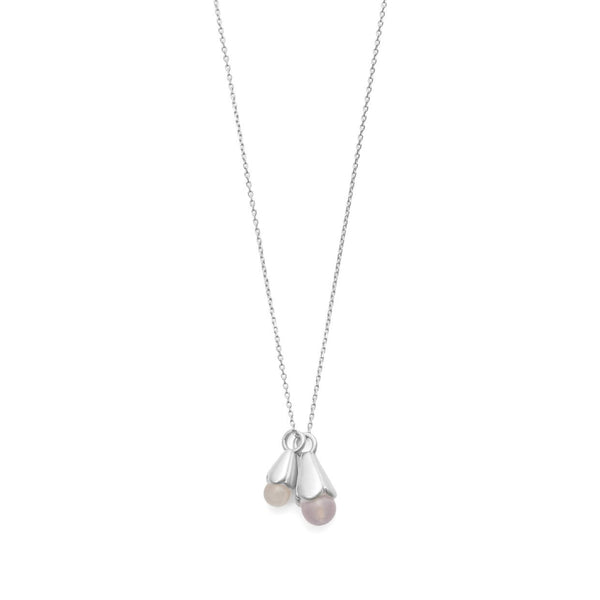 Sence Copenhagen Clover Necklace Rose Quartz Matt Silver 41 cm K653