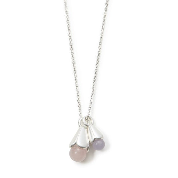 Sence Copenhagen Clover Necklace Rose Quartz Matt Silver 95 cm K669 detail