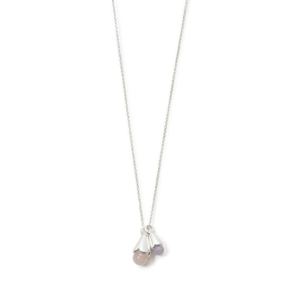 Sence Copenhagen Clover Necklace Rose Quartz Matt Silver 95 cm K669