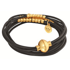 Sence Copenhagen Fashion Jewellery Signature Bracelet Black Worn Gold A343