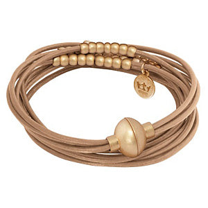 Sence Copenhagen Fashion Jewellery Signature Bracelet Taupe Worn Gold A905