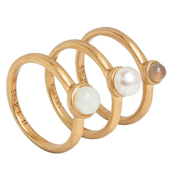 Sence Copenhagen Fashion Jewellery Sirlig Ring Multi-stone Worn Gold P699+P700