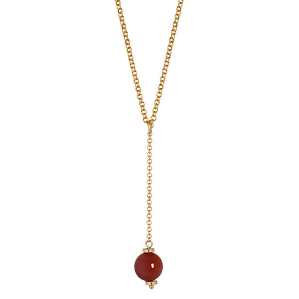 Sence Copenhagen Fashion Jewellery Swirl Necklace Red Agate Matt Gold K002