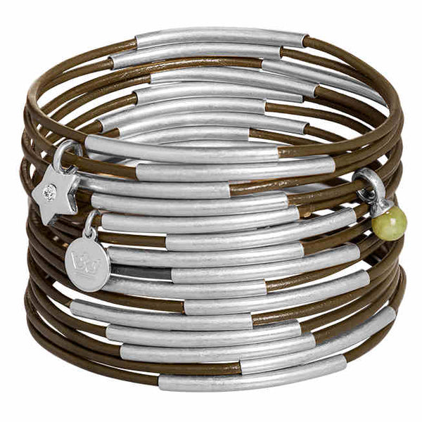 Sence Copenhagen Fashion Jewellery Urban Gypsy Bracelet Green Lime Stone Matt Silver K468