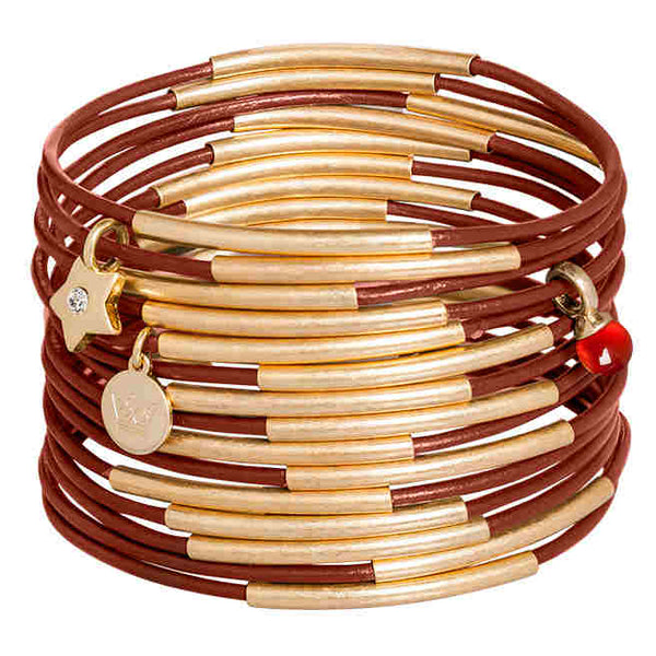 Sence Copenhagen Fashion Jewellery Urban Gypsy Rose Bracelet Metallic Wine Red Agate K462