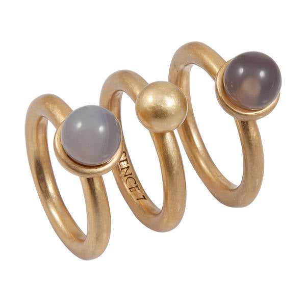 Sence Copenhagen Grey Agate And Glass Ring Set in worn gold Z349